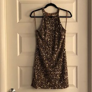 PARKER Gold Sequin Dress